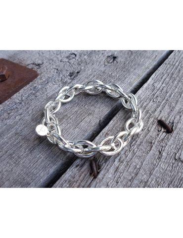 Trendiges Gliederarmband Elastisch silber silver glänzend Kunststoff Onesize