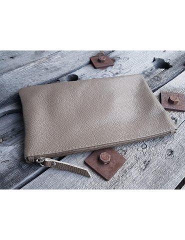 Kosmetiktasche Portemonaie Geld Tasche Bag in Bag taupe Echtes Leder