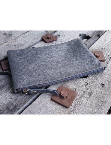 Kosmetiktasche Portemonaie Geld Tasche Bag in Bag grau grey Echtes Leder