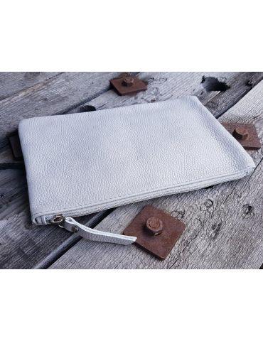 Kosmetiktasche Portemonaie Geld Tasche Bag in Bag hellgrau grau Echtes Leder