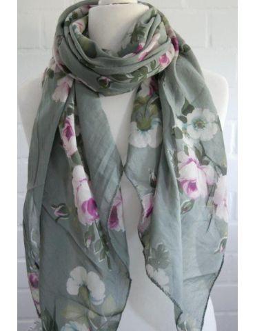 Tuch Loop Made in Italy Seide Baumwolle oliv khaki pink bunt Blumen