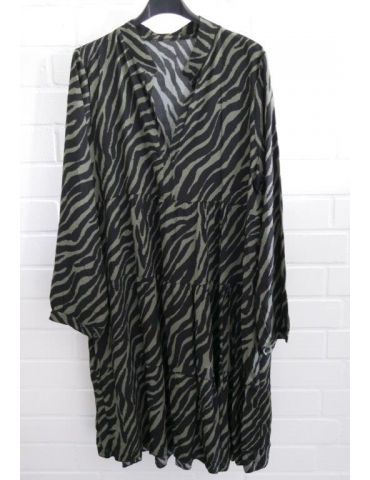 Damen Tunika Kleid A-Form schwarz oliv khaki Zebra Onesize ca. 36 - 42