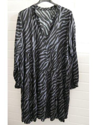 Damen Tunika Kleid A-Form schwarz grau Zebra Onesize ca. 36 - 42