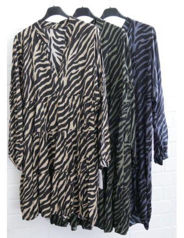 Damen Tunika Kleid A-Form schwarz grau Zebra...