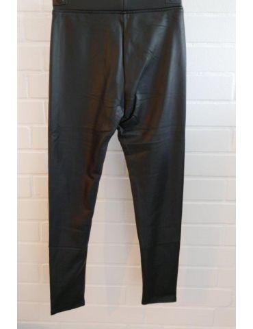 ORMI Leder Imitat Legging Hose Damenhose schwarz