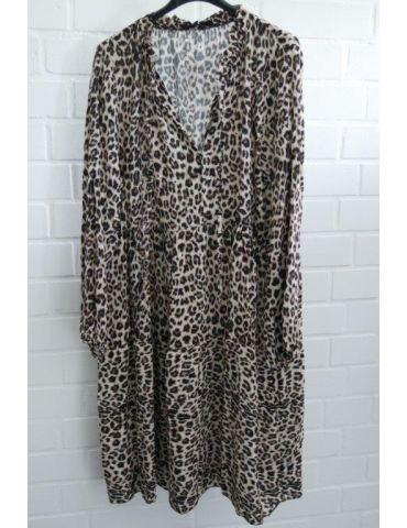 Damen Tunika Kleid A-Form creme beige schwarz Leo Rüschen Bänder Onesize ca. 38 - 44