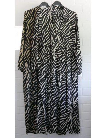 Damen Midikleid Maxikleid schwarz creme Zebra...