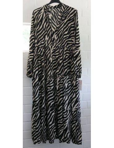 Damen Midikleid Maxikleid schwarz creme Zebra Viskose Onesize 36 - 40