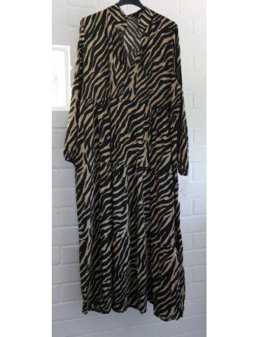 Damen Midikleid Maxikleid schwarz beige Zebra Viskose Onesize 36 - 40