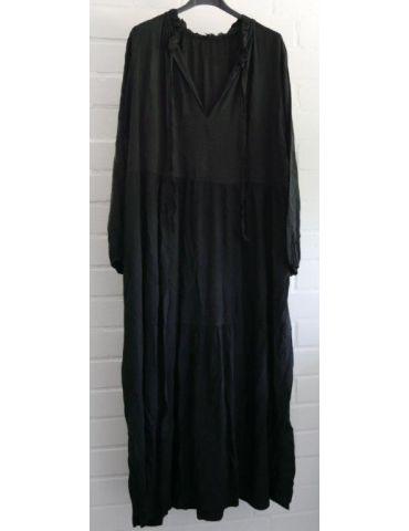 Damen Midikleid Maxikleid schwarz black Viskose Stufen Kleid Rüschen Onesize 38 - 42