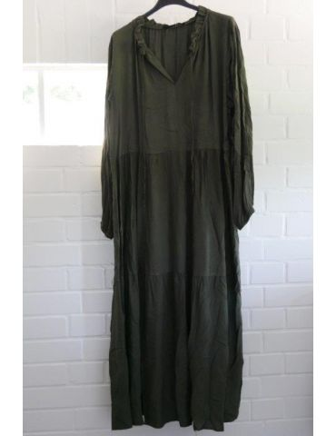 Damen Midikleid Maxikleid oliv khaki grün Viskose Stufen Kleid Rüschen Onesize 38 - 42