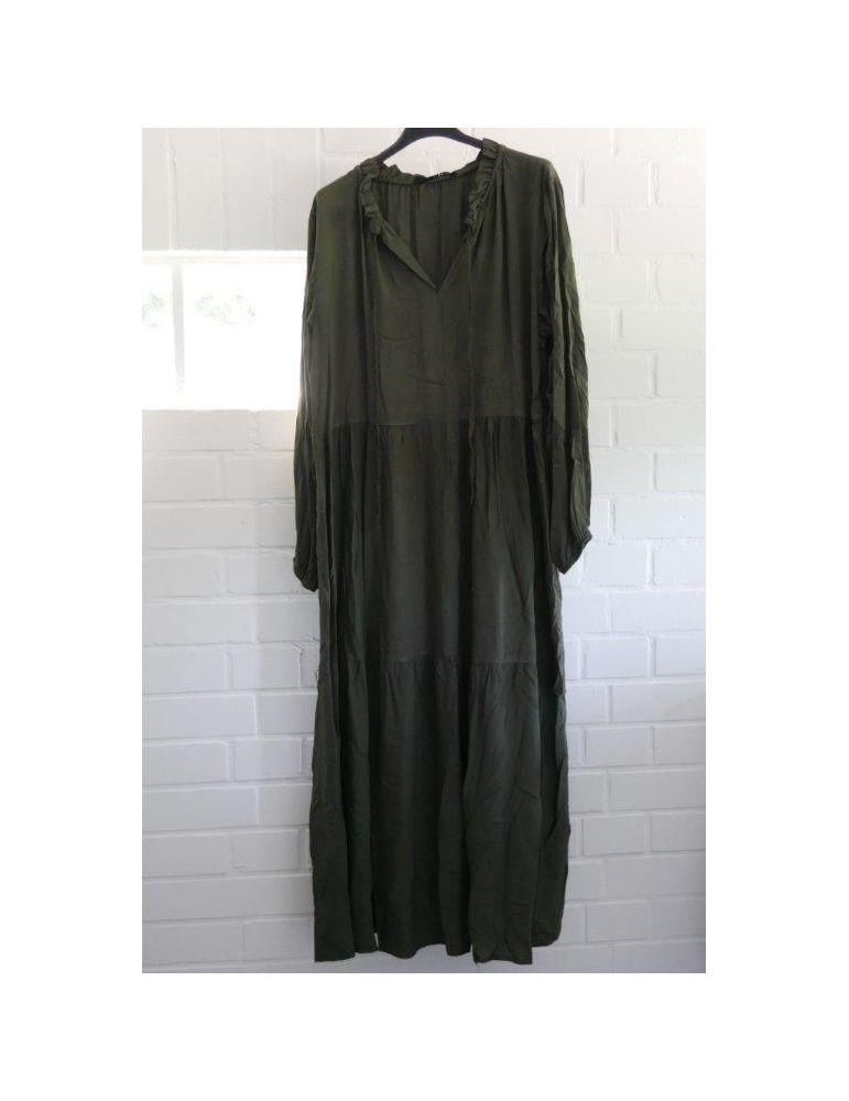Damen Midikleid Maxikleid oliv khaki grün Viskose Stufen ...