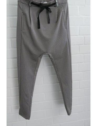ESViViD Bequeme Sportliche Damen Hose Baggy schwarz weiß Fischgrät 644