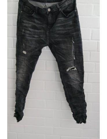 ORMI Trendige Coole Jeans Hose Damenhose anthrazit grau verwaschen