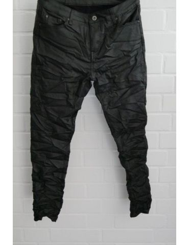 ORMI Trendige Coole Lederimitat Hose Damenhose schwarz black gecrasht