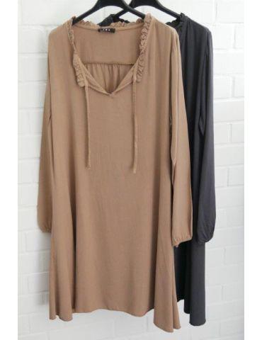 Damen Tunika Kleid A-Form Schmal camel caramell...