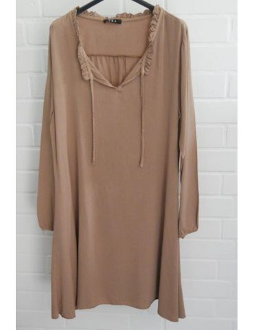 Damen Tunika Kleid A-Form Schmal camel caramell uni Onesize 38 - 42