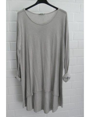 ESViViD Damen Tunika Shirt A-Form langarm hellgrau grau Baumwolle Onesize ca. 38 - 44