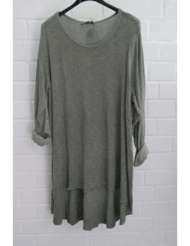 ESViViD Damen Tunika Shirt A-Form langarm khaki oliv grün Baumwolle Onesize ca. 38 - 44