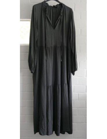 Damen Midikleid Maxikleid anthrazit grau Viskose Stufen Kleid Rüschen Onesize 38 - 42