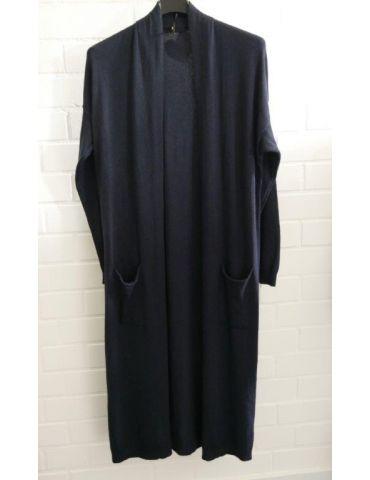 Damen Basic Strick Jacke dunkelblau blau mit Viskose Onesize ca. 38 - 42