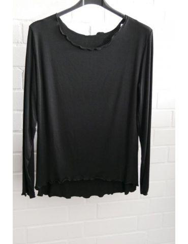 Damen Shirt langarm schwarz black uni mit Viskose Wellen Onesize 38 - 42
