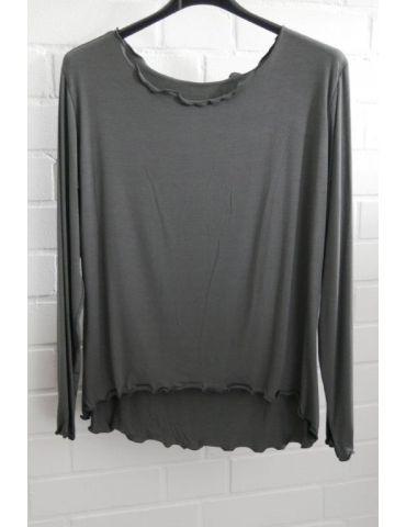 Damen Shirt langarm anthrazit grau uni mit Viskose Wellen Onesize 38 - 42