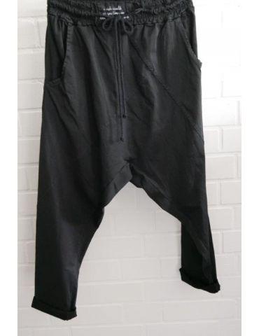 Bequeme Sportliche Damen Hose Baggy schwarz black uni mit Lyocell Onesize 38 40