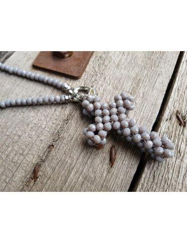 Modeschmuck Kette Halskette lang grau Kristallperlen Kreuz Kunststoff Metall