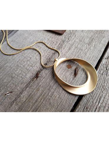 Bijoux Trendige Damen Modeschmuck Kette Halskette lang goldfarben Ring