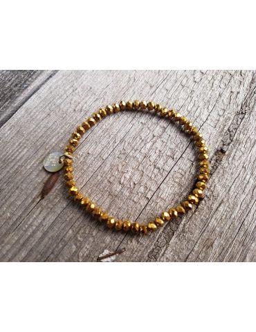 Armband Kristallarmband Perlen gold gelb klein Glitzer Schimmer elastisch