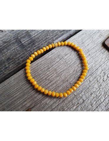 Armband Kristallarmband Perlen orange gelb klein Glitzer Schimmer elastisch