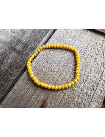 Armband Kristallarmband Perlen gelb braun klein Glitzer Schimmer elastisch