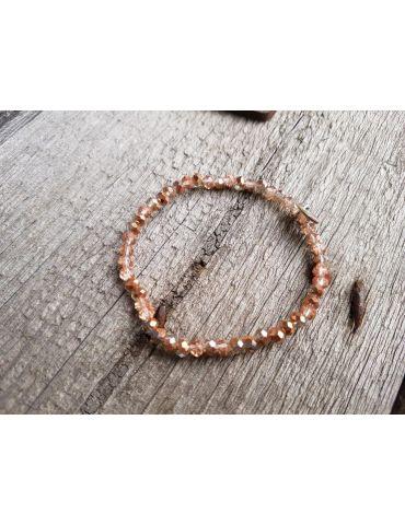 Armband Kristallarmband Perlen kupfer klar klein Glitzer Schimmer elastisch