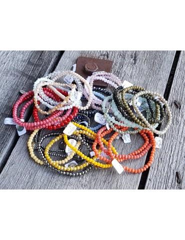 Armband Kristallarmband Perlen taupe braun matt...