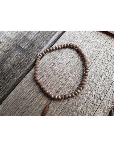 Armband Kristallarmband Perlen taupe braun matt klein Glitzer Schimmer elastisch