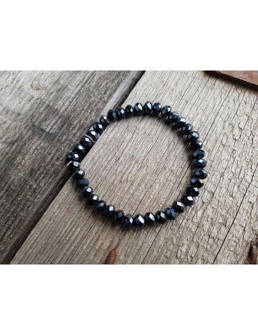 Armband Kristallarmband Perlen dunkelblau groß Glitzer Schimmer elastisch
