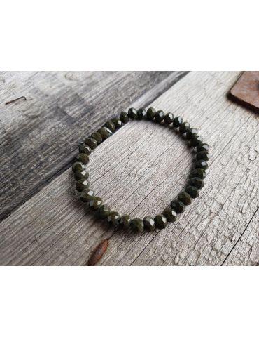 Armband Kristallarmband Perlen dunkelkhaki groß Glitzer Schimmer elastisch