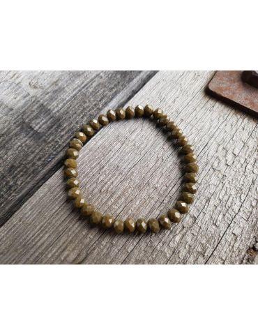 Armband Kristallarmband Perlen khaki groß Glitzer Schimmer elastisch