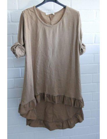 Damen Shirt Rüschen langarm camel caramell uni mit Baumwolle Onesize 38 - 42