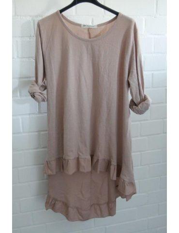 Damen Shirt Rüschen langarm altrose rosa uni mit Baumwolle Onesize 38 - 42