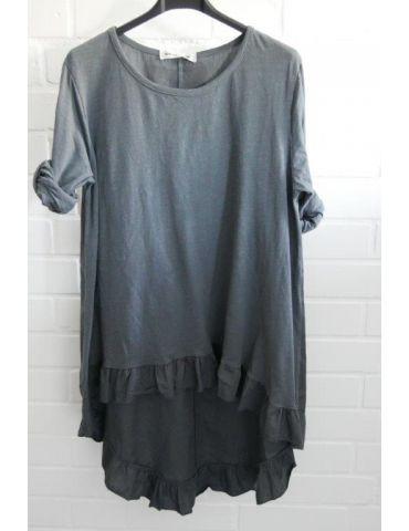 Damen Shirt Rüschen langarm grau grey uni mit Baumwolle Onesize 38 - 42