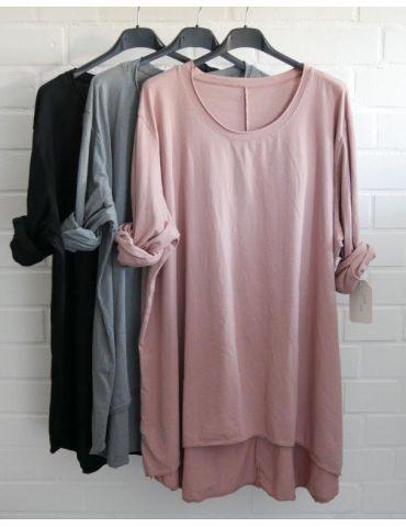 Damen Shirt langarm altrose rosa uni mit...