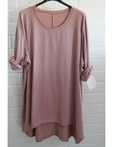 Damen Shirt langarm altrose rosa uni mit Baumwolle Onesize 38 - 46