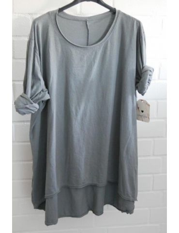 Damen Shirt langarm grau uni mit Baumwolle Onesize 38 - 46
