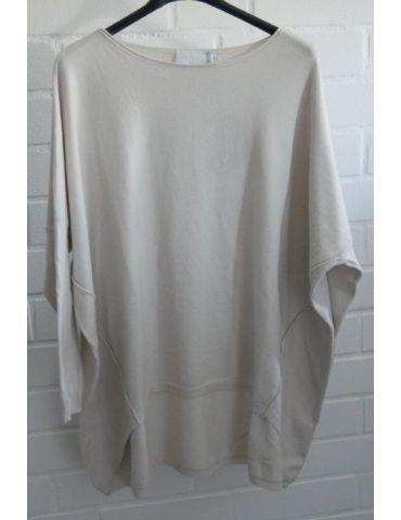 ESViViD Damen Pullover beige Rundhals Onesize ca. 38 - 46 mit Viskose 2232