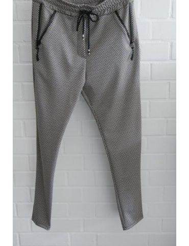ESViViD Bequeme Coole Sportliche Jersey Hose Chino schwarz weiß Fischgrät Reißverschluss 7130