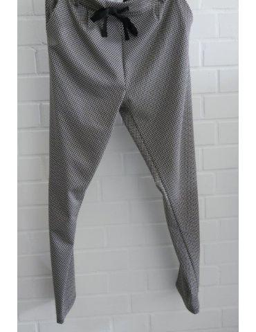 ESViViD Bequeme Coole Sportliche Jersey Hose Chino schwarz weiß Fischgrät 7130