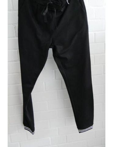 ESViViD Coole Sportliche Jersey Hose Chino schwarz weiß Bündchen 9033
