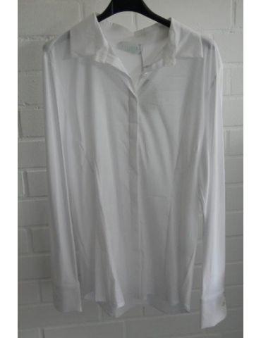 ESViViD Damen Bluse weiß white edel schlicht Basic uni mit Jersey Einsatz